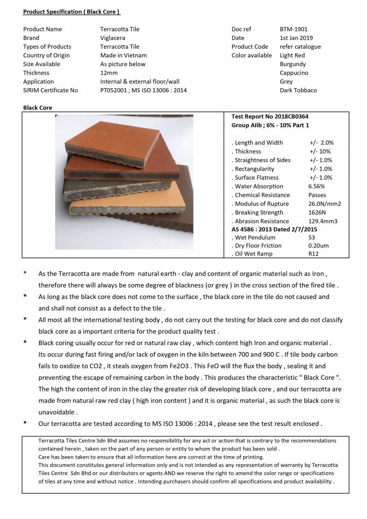 specification for terracotta black core